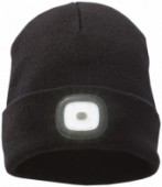 Mighty LED knit beanie, Black - Zwart